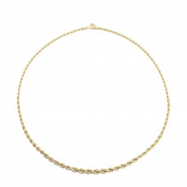 9ct Yellow Gold Graduated Rope Necklace