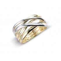 9ct Yellow And White Gold Plain Cross Over Ring
