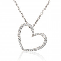 18ct White Gold Diamond Heart Pendant Necklace