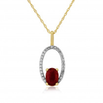 9ct Yellow Gold Diamond & Ruby Halo Pendant Necklace