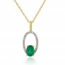 9ct Yellow Gold Diamond & Emerald Halo Pendant Necklace