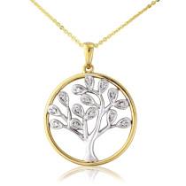 9ct Yellow & White Diamond Tree Of Life Pendant Necklace