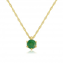 9ct Yellow Gold Emerald Pendant Necklace