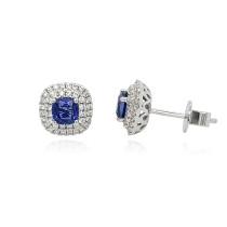 18ct White Gold Diamond & Sapphire Earrings