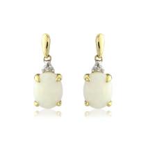 9ct Yellow Gold Diamond & Opal Oval Drop Earrings