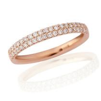 18ct Rose Gold Diamond Double Pavee Ring