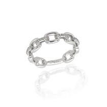 9ct White Gold & Diamond Alternating Ring