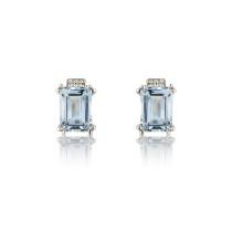 9ct White Gold Diamond & Aquamarine Earrings