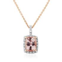 9ct Rose Gold Diamond & Morganite Pendant Necklace