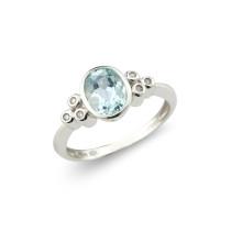 9ct White Gold Diamond & Aquamarine Ring