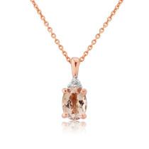 9ct Rose Gold Morganite & Diamond Pendant Necklace