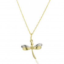 9ct Yellow and White Gold Dragonfly Pendant Necklace