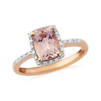 9ct Rose Gold Diamond Morganite Ring