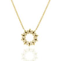 9ct Yellow Gold & Diamond Sun Pendant Necklace