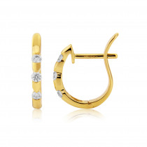 18ct Yellow Gold Diamond Notch Earrings