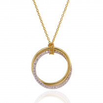 18ct Yellow & White Gold Diamond Hoops Necklace
