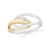 9ct Yellow & White Gold Diamond Cosmos Ring