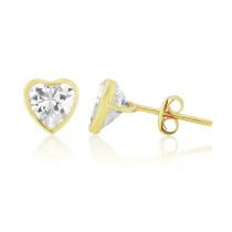 9ct Yellow Gold Cubic Zirconia Heart Earrings (Large)