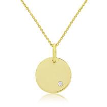 9ct Yellow Gold Diamond Engraving Disc Pendant Necklace