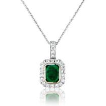 18ct White Gold Emerald Diamond Surround Pendant Necklace