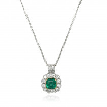 18ct White With Yellow Gold Diamond & Emerald Necklace