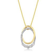 9ct Yellow & White Gold Diamond Oval Pendant Necklace