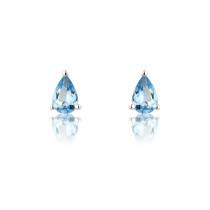 9ct White Gold Pear Aquamarine Earrings