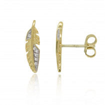 9ct Yellow Gold & Diamond Feather Earrings