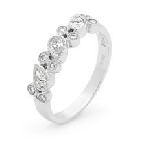 Platinum Diamond Millgrain Ring