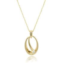 9ct Yellow Gold Diamond Oval Pendant Necklace