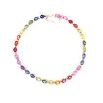 9ct Yellow Gold Oval Set Rainbow Sapphire Bracelet