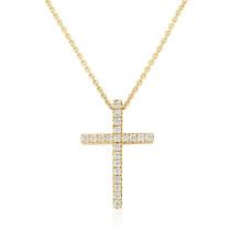 18ct Yellow Gold Diamond Cross Pendant Necklace