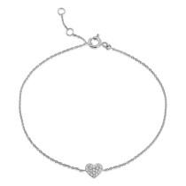 9ct White Gold Diamond Heart Bracelet