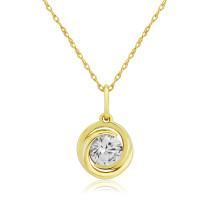 9ct Yellow Gold Cubic Zirconia Swirl Pendant Necklace