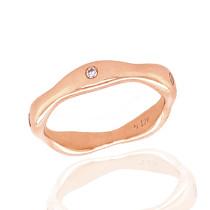 9ct Rose Gold Diamond 'Bones' Ring