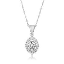 9ct White Gold Cubic Zirconia Pendant Necklace