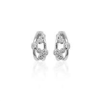 9ct White Gold Diamond Bubble Earrings