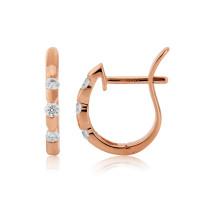 18ct Rose Gold Diamond Notch Earrings