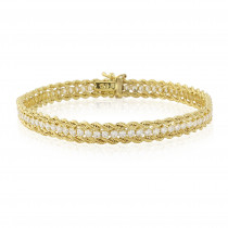 9ct Yellow Gold Cubic Zirconia Rope Bracelet