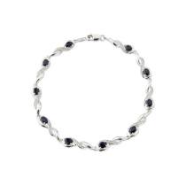 9ct White Gold Diamond Oval Sapphire Bracelet