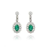 9ct White Gold Diamond Oval Scallop Emerald Stud Earrings