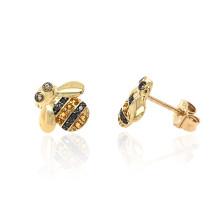 9ct Yellow Gold Diamond & Citrine Bee Earrings