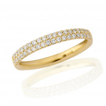 18ct Yellow Gold Diamond Double Pavee Ring