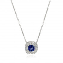 18ct White Gold Diamond & Sapphire Necklace