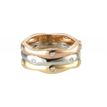 9ct Yellow, White & Rose Gold Wave Ring