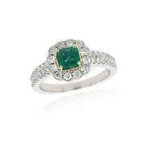 18ct White with Yellow Gold Diamond & Emerald Ring