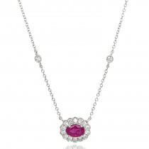 9ct White Gold Diamond Oval Scallop Ruby Necklace