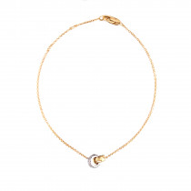 18ct Yellow & White Gold Diamond Double Ring Bracelet