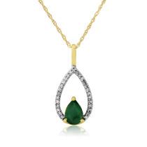 9ct Yellow Gold Emerald & Diamond Pendant Necklace